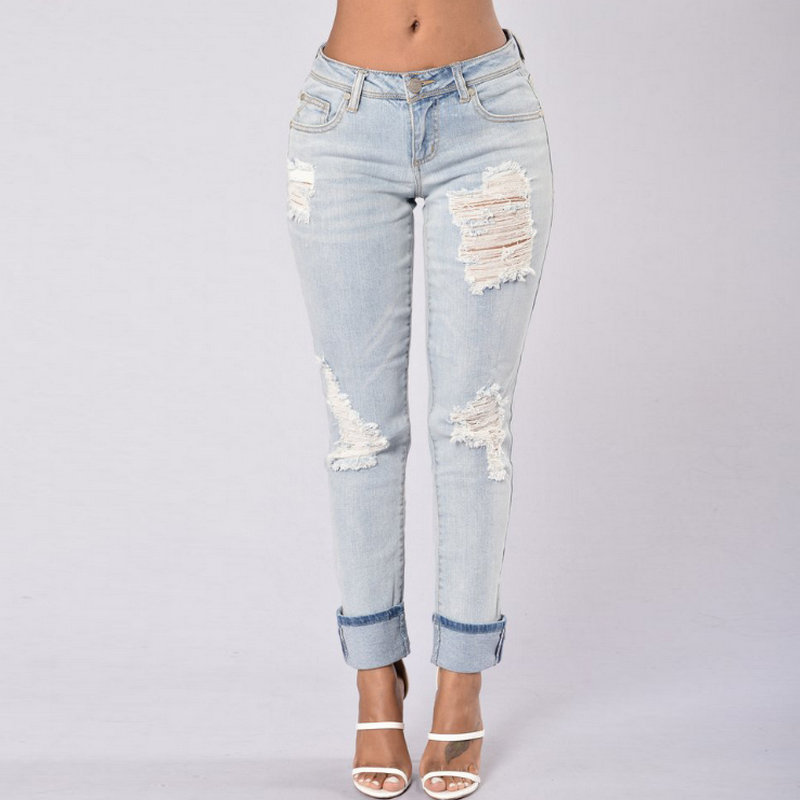 2020 new fashion popular ladies jeans solid fat mm casual pants 1086
