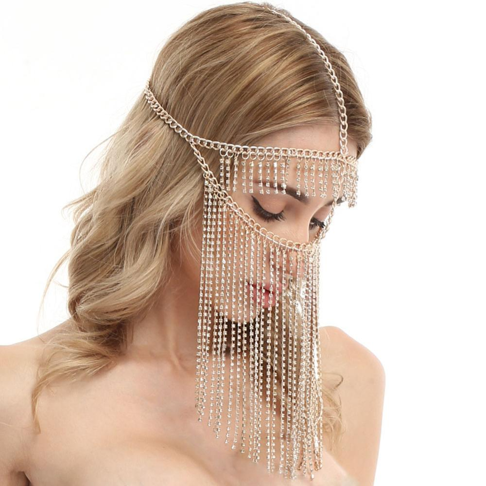Image 4 - Belly Dance Headdress Mask Chain for Women   Venetian Mardi Gras Costumes Mask Ball Face Chain Jewelry for Nightclub Party    -