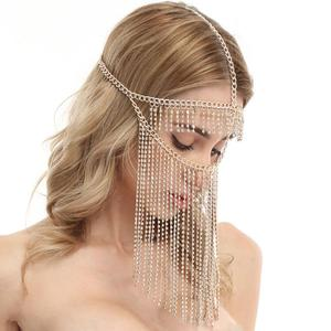 Image 4 - Belly Dance Headdress Mask Chain for Women   Venetian Mardi Gras Costumes Mask Ball Face Chain Jewelry for Nightclub Party
