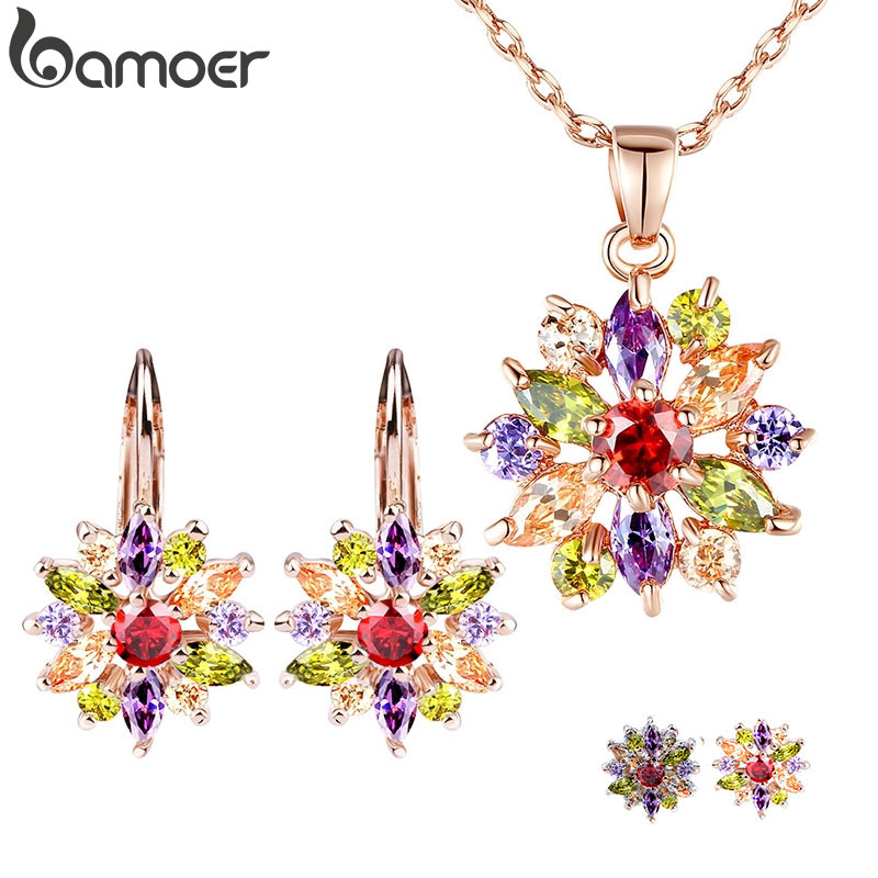 BAMOER Luxury Gold Color Flower Bridal Jewelry Sets More For Women Wedding with Colorful Cubic Zircon