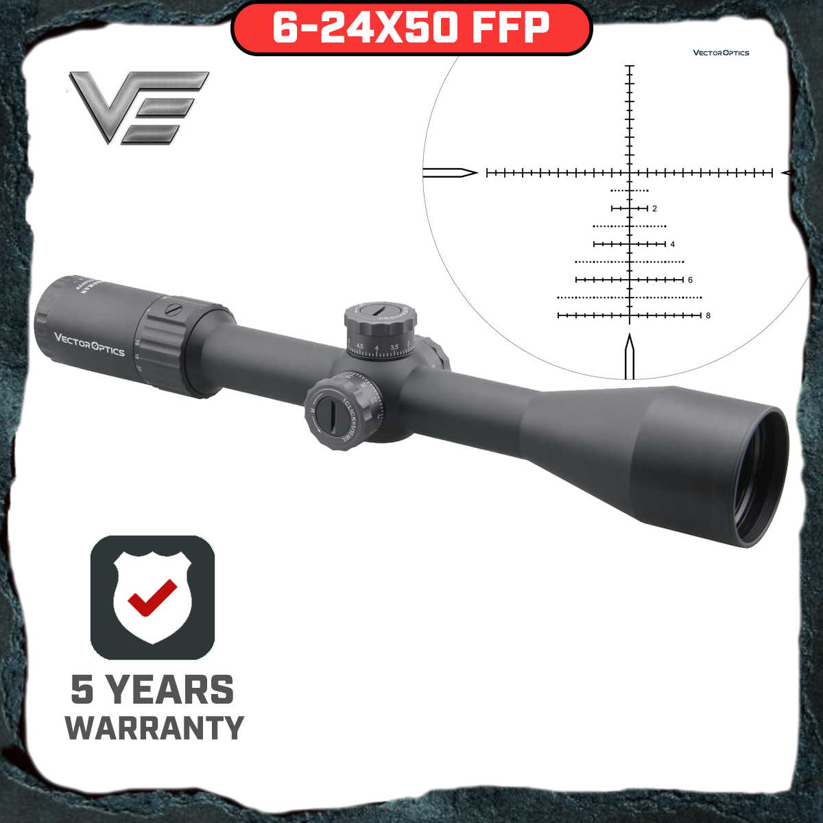 Vector Optics Marksman 6-24x50 Ffp Tactical Riflescope Hunting Rifle Scope Side Focus Min 10Yds 1/10MIL Aanpassing. 30 06 Win
