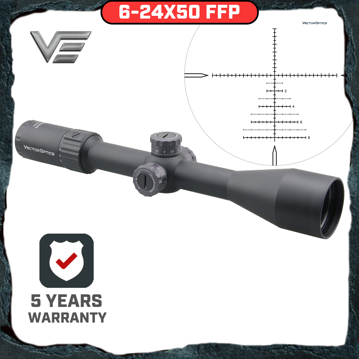 Vector Optics Marksman 6-24x50 FFP Tactical Riflescope Hunting Rifle Scope Side Focus Min 10Yds 1/10MIL Adjustment .30 06 Win