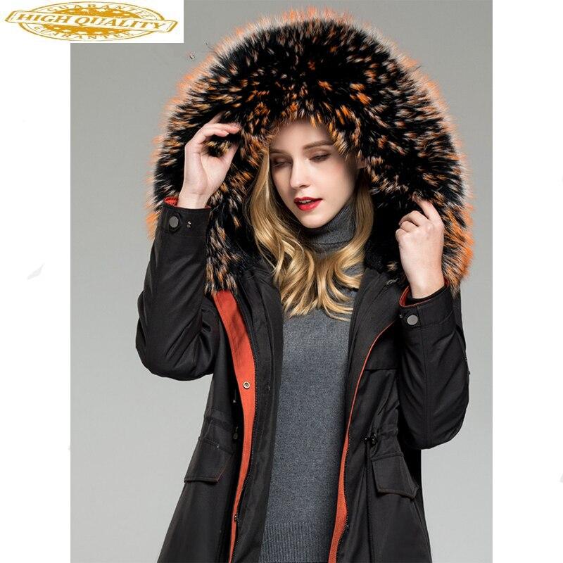 Winter Jacket Women Parka Real Fur Coat Female Rabbit Fur Liner Warm Jacket Women Raccoon Fur Collar Long Coat MY4368