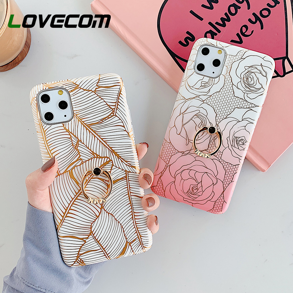 Plated Line Leaf Rose Floral Ring Holder Phone Case For iPhone 12 Mini 11 Pro Max XR X XS Max 7 8 6S Plus Case Soft Phone Cover Phone Case & Covers  - AliExpress