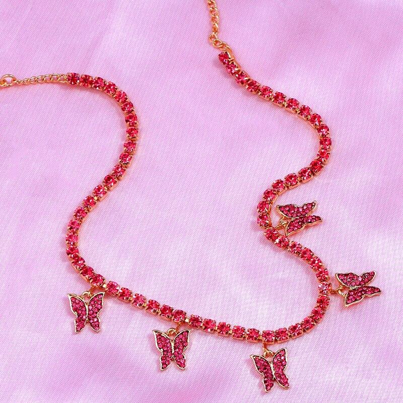 Mode Charme Tennis Kette Schmetterling Choker Halskette für Frauen Rose Red Strass Halskette Anhänger Schmuck Großhandel Geschenk