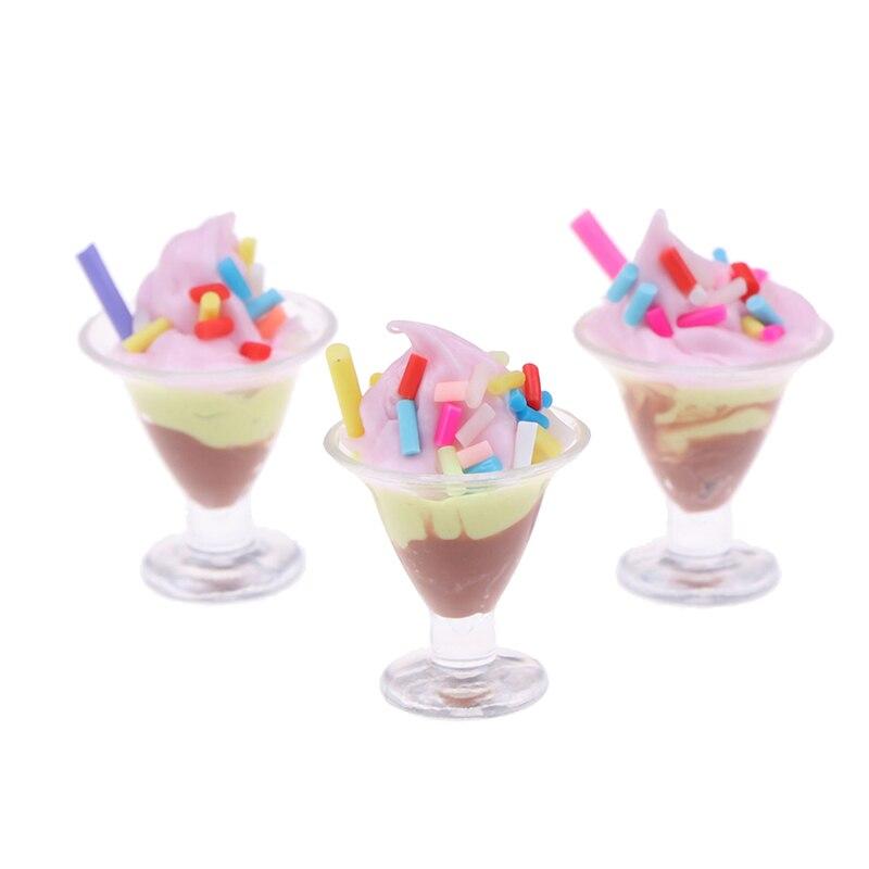 1Pc 1/12 Dollhouse Miniature Food Mini Resin Ice Cream Cups Drinks Model Toys Sent Randomly