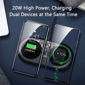 Image 2 - Baseus 20W Fast Qi Wireless Charger for iPhone 11 Pro Max XR Xs AirPods Dual 10W Fast Charging For Samsung S20 S9 Huawei P30 Pro
