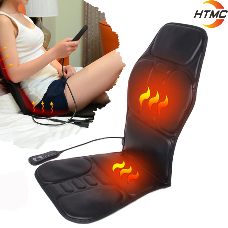 Infrared Electric Portable Heating Vibrating Back Massager Chair In Cussion Car Home Office Lumbar Neck Mattress Pain Relief image