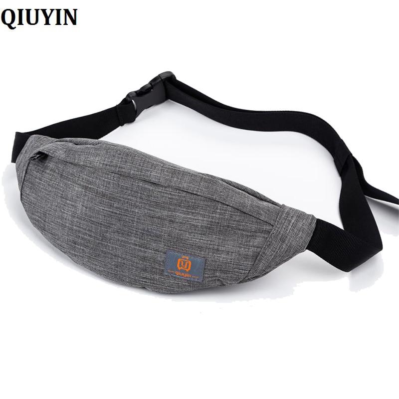 QIUYIN Male Men Waist Bag Pack Casual Functional Money Phone Belt Bag S201 Gray Black Women Bag For Belt Canvas Hip Bag Fanny