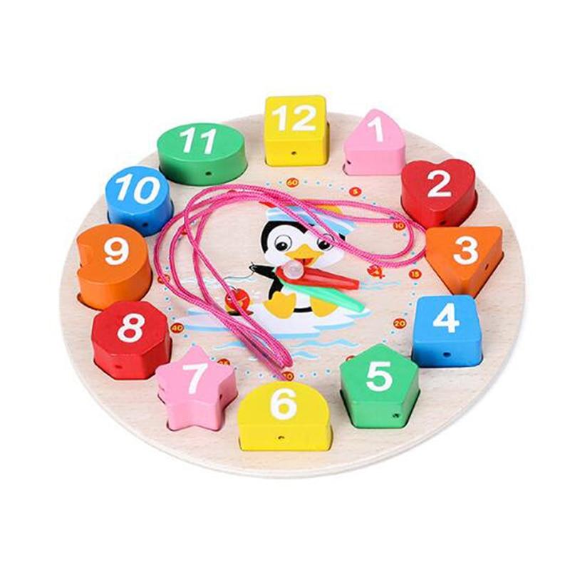 Cartoon Animal Educational Montessori Wooden Beads Digital Clock Puzzles Funny Gadgets Novelty Interesting Toys Birthday Gift