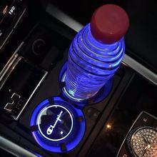 1X Led car logo cup light for Alfa Romeo seat Skoda Peugeot Citroen Kia Mazda modern Volvo Nissan lamp coaster accessories