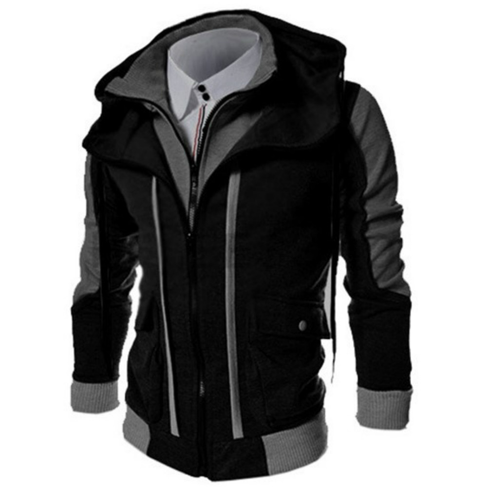 ZOGAA Fashion Brand Men Jacket Winter Cardigan Casual Hooded Coat Double Zipper Fake Two Tops Mens Jackets And Coats 2020 New