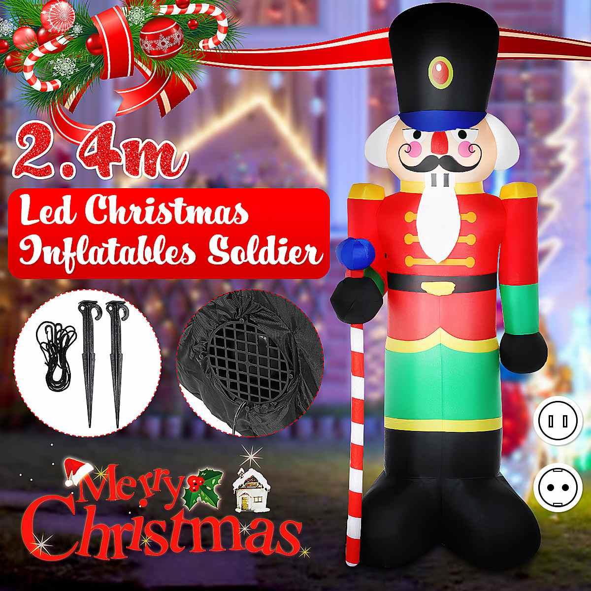 240cm Air Inflatable Statue Claus Outdoor Garden Inflatable Nutcracker Soldier LED Night Light Christmas Balloons Xmas Decor