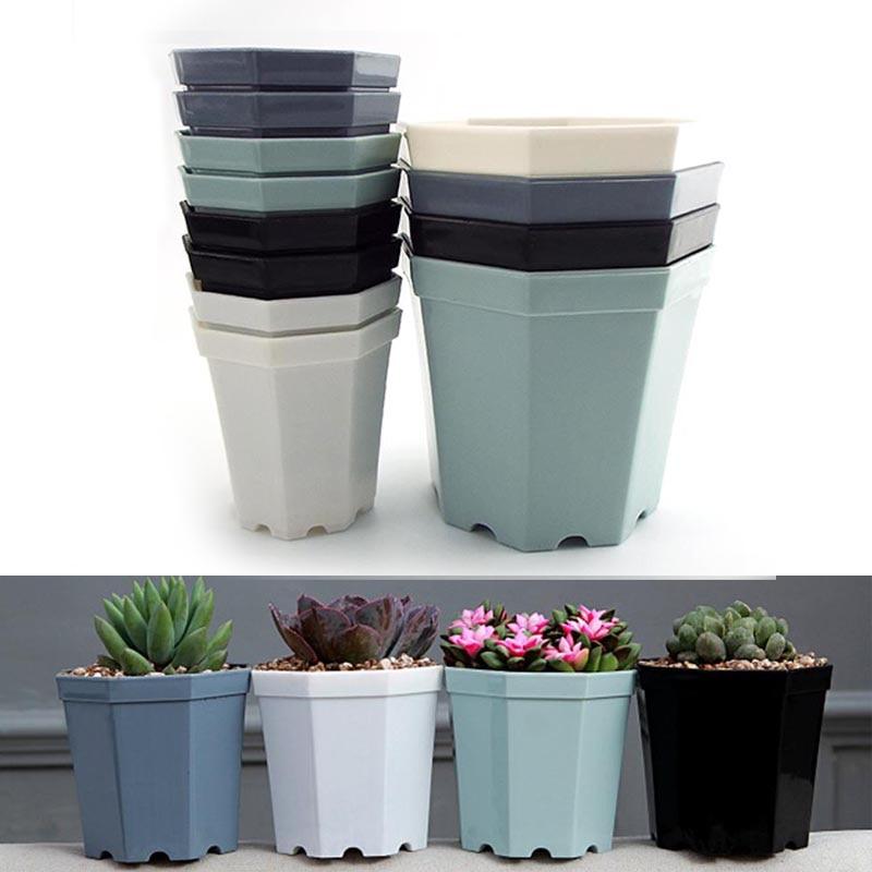 4pcs/Lot Plastic Octagon Flower Pot Modern Home Decorative Pots Office Desk Succulent Planter Garden Bonsai Pot