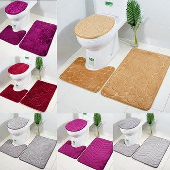 3pcs flannel water absorb toilet mat anti slip bathroom carpet set heart/stone/shell/stripe pattern solid color rugs decor DW249