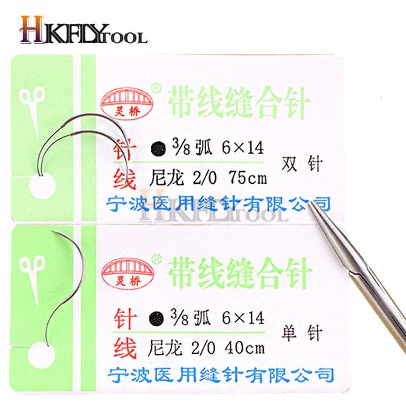 Круглая шовная игла хирургический инструмент для микрохирургии нейлона Мононити с округленным безвредным иглом хирургический инструмент 10 шт./компл