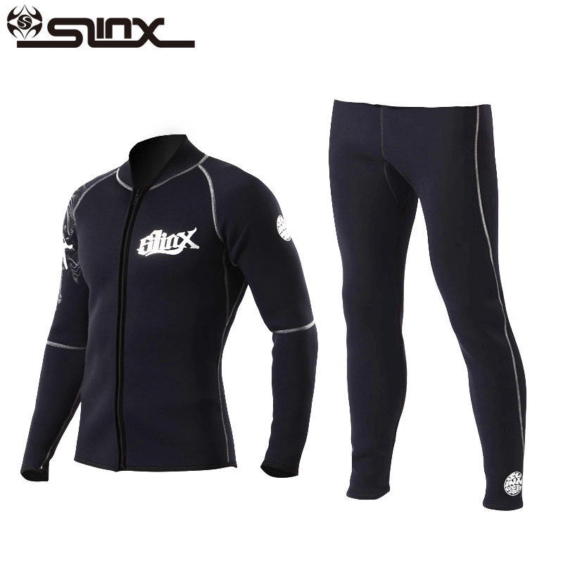 Slinx 3mm Men Women Jackets & Pants Flocking Scuba Diving Wetsuit Neoprene Winter Fleece Lining Snorkeling Diving Spearfishing