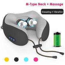 U-Shaped Massage Neck Pillows for Travel Airplane Pillow Sponge Memory M-type Vibration Kneading Bedding Cushion