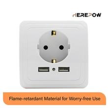 Herepow Ổ Cắm Ổ Điện Ổ Cắm Usb 16A EU Ổ Cắm Cắm Ổ Cắm Cổng USB Kép Ổ Cắm Sạc Tường Pop Ổ Cắm CE