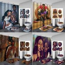 Juego de cortinas de ducha africanas para hombre fuerte y Chica, alfombras antideslizantes Lover Afro, cubierta de tapa de inodoro y alfombrilla de baño, juego de cortinas de baño