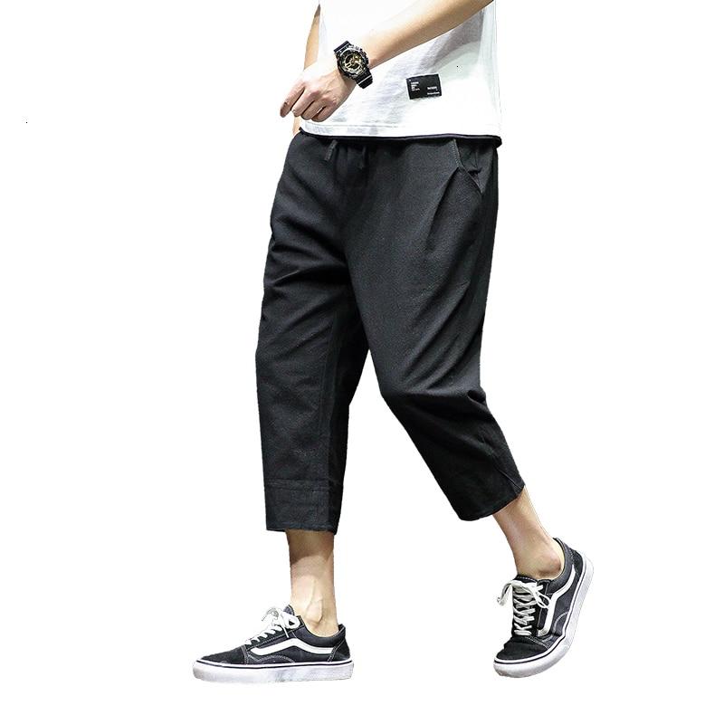2019 Summer Pants Men Casual Elastic Waist Mens Calf-length Pants Loose Sweatpants Trousers Jogger Pants 5XL
