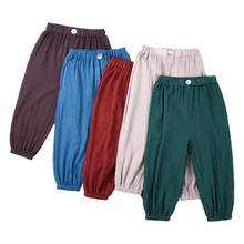 Children Cotton Linen Casual Pants Summer New Style Men And Women Children Korean-style Anti Mosquito Pants Loose-Fit Child