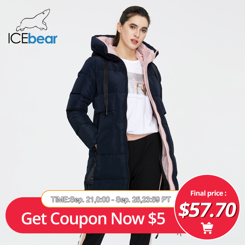 ICEbear 2020 New Winter Women Jacket High Quality Long Woman coat Hooded Female Parkas Stylish Women's Brand Clothing GWD19507I(China)