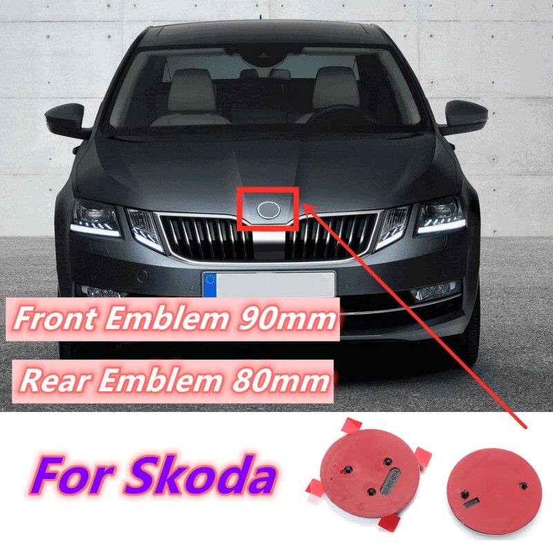 80mm 90mm ABS Emblem Für Skoda Fabia 1 2 Octavia a7 RS Superb Schnelle Yeti Karoq Vision Auto kopf Front Rear-Boot-Heckklappe Aufkleber