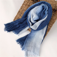 Women Scarf Blue White Wraps Summer Spring Winter Long Big Breathable Accessory For Lady