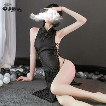 2020 Sexy lingerie Anime Uniform Chinese Qipao Classic Women Satin Cheongsam Night Bathrobe Fashion Dressing for Erotic - discount item  30% OFF Costumes & Accessories