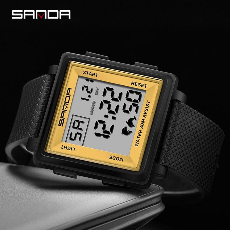 Fashion Sanda Luxury Top Brand Men Digital Watch Big Square Dia Sports Military Army Led Waterproof Wrist Male Clock Relogio