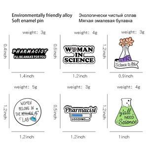 Фармацевтическая эмалевая булавка, научные металлические броши, булавки для рюкзака, милый черный и белый значок, ювелирные изделия, подарки для друзей, оптовая продажа