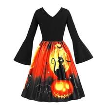 Women Dress Long Sleeve Vintage Pumpkins Halloween Evening Prom Costume Swing Knee-Length Casual