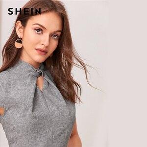 Image 5 - SHEIN, серое, с вырезом, с закручивающимся спереди, с коротким рукавом, расклешенное длинное платье для женщин, летнее, с воротником стойкой, на молнии, сзади, элегантное платье трапециевидной формы