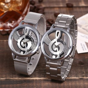 Silver Women Watch Hollow Note Dial Quartz Stainless Steel Band Strap Watch Analog Wrist Watch Clock Ladies Watches reloj mujer