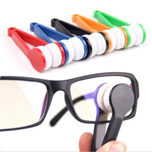 Mini Two-side Glasses Brush Microfiber Spectacles Cleaner Glasses Cleaning Rub Cleaner Eyeglass Cleaner Brush Screen Rub цена 2017