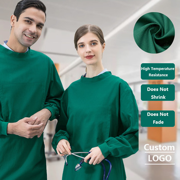 Cotton Brush Hand Clothes Dark Green Men and Women Doctor Clothes Nurse Clothes All Inclusive Scrub Skirt ICU Isolation Clothes