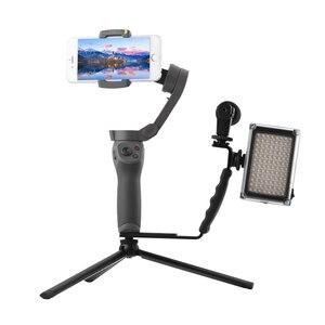 Image 2 - L בצורת ידית מחזיק עבור DJI OM 4 אוסמו נייד 3 2 מייצב חצובה הארכת מוט LED וידאו אור הר מיקרופון סוגר