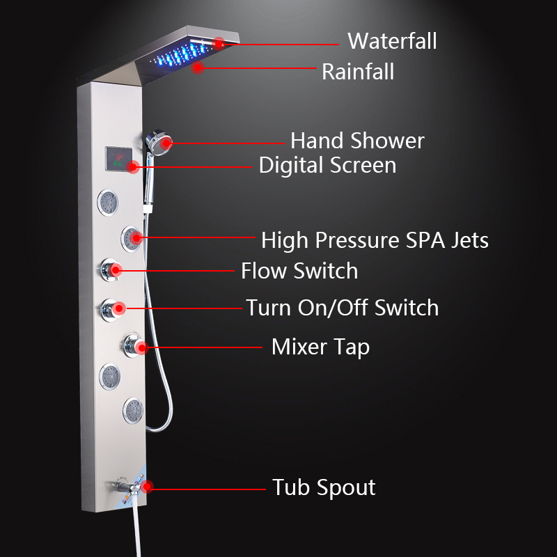 Shower-Panel-LED-Waterfall-Rainfall-Nickel-Brushed-Wall-Mounted-Bathroom-Shower-Faucet-Shower-Panel-Column-With