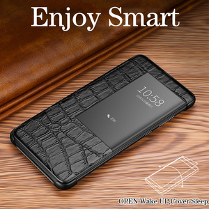 Image 3 - Luxury smart touch flip case for Huawei mate20 p30 p20 mate10 Pro lite view window leather crocodile skin protection Phone cover