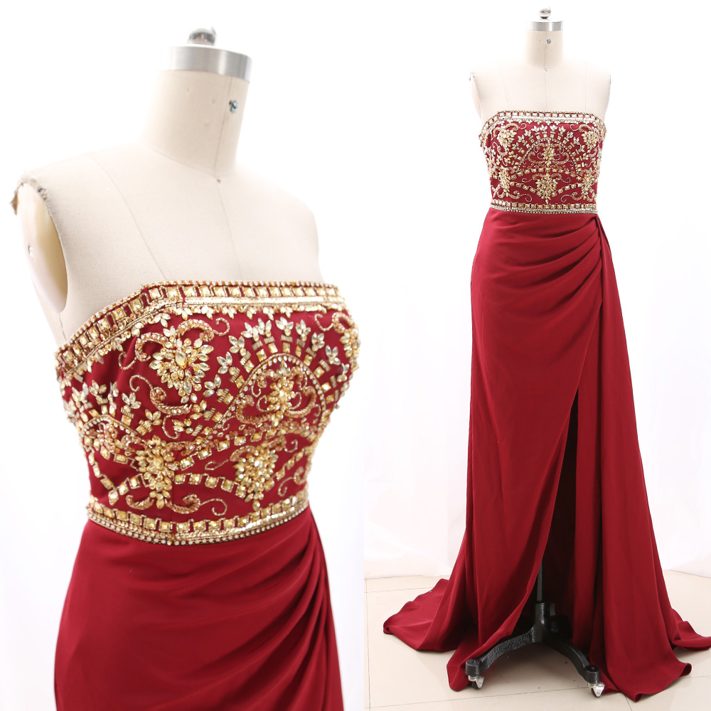 MACloth Wine Red A-Line Strapless Floor-Length Long Crystal Satin Prom Dresses Dress M 267865 Clearance
