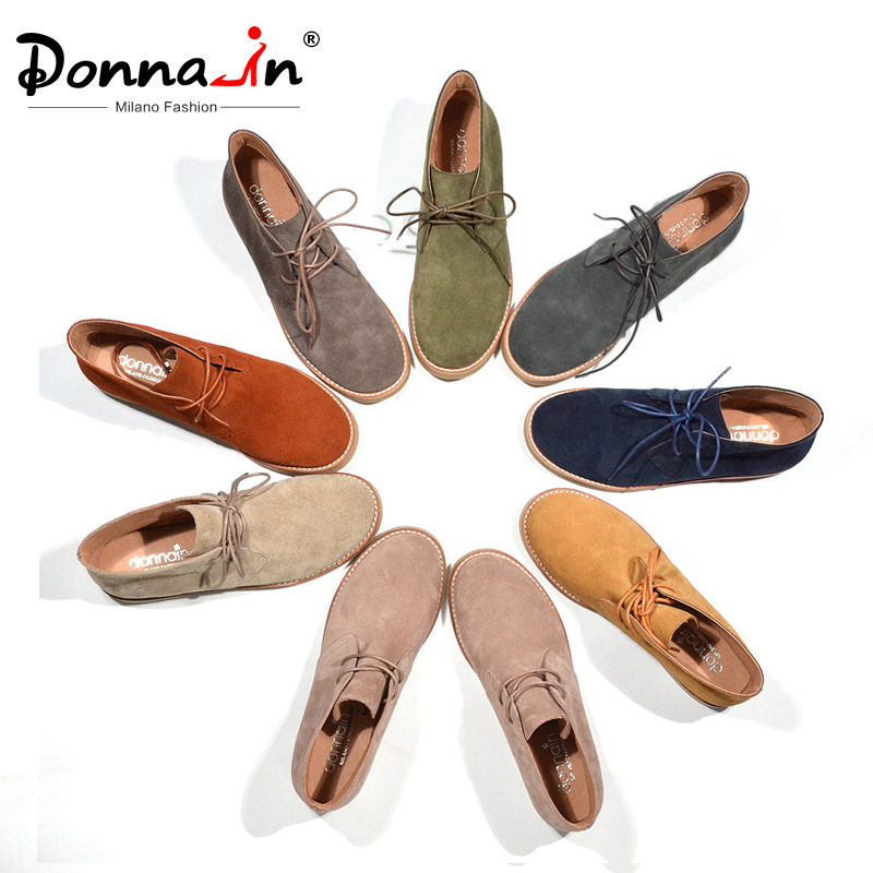 Donna-In Ankle-Boots Shoes Lace-Up Suede Flat Genuine-Leather Women Plus-Size Casual