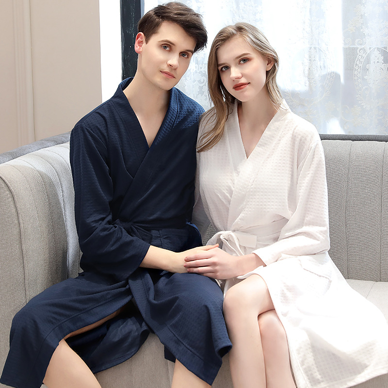 Absorbent Quick-drying Men Pajamas Spring/Summer Autumn Waffle Bathrobe Women's Thin Yukata Men And Women Home Clothing Lovers