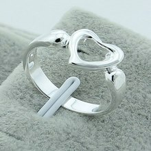 New Arrival 925 Silver Color Fashion Heart Ring Wholesale High Quality luxury Jewelry Promotion Price