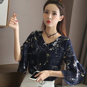 Summer Sweet Chiffon Blouse Women Fashion Floral Print Shirt Lady V Neck Flare Sleeve Tops