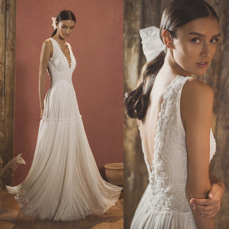 Bohemian Beach Wedding Dresses 2020 V Neck Lace Appliqued Beads Boho Chiffon Bridal Gowns A Line Wedding Dress Robe De Mariée