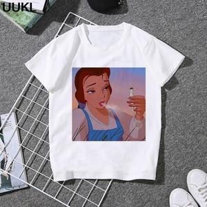 UUKL Poleras Mujer De Moda 2020 Summer Thin Section T Shirt Harajuku Fun Princess Smoking Tshirt Leisure Fashion Female T-shirt