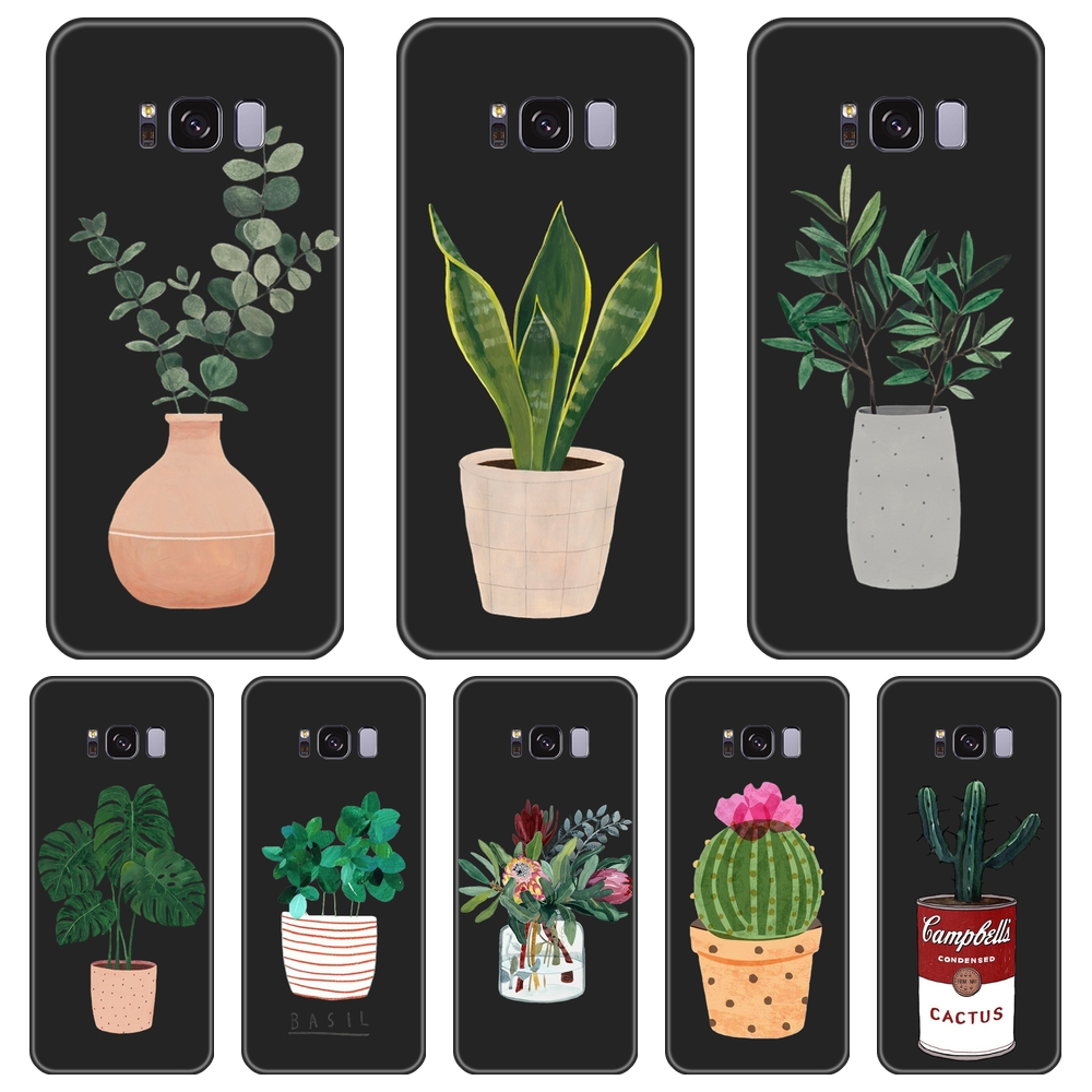 Potted Flower <font><b>Case</b></font> For <font><b>Samsung</b></font> Galaxy Note 9 8 5 4 <font><b>Silicone</b></font> Back Cover For <font><b>Samsung</b></font> Galaxy S5 S6 <font><b>S7</b></font> <font><b>Edge</b></font> S8 S9 Plus Phone <font><b>Case</b></font> image
