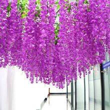 12 Uds glicina Artificial flores guirnalda de enredadera decoración del arco de la boda plantas follaje de mimbre siguiendo flores Ivy de la pared