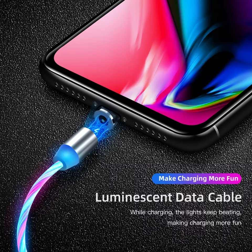 LED グロー流れる磁気充電ケーブル発光照明急速充電マイクロ Usb タイプ C Iphone アンドロイド電話用 USBC ワイヤーコード